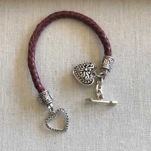 Leather and silver bracelet